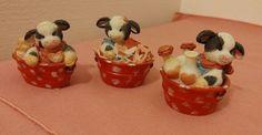 Set of 3 Enesco Mary's Moo Moos Cow in Washtub