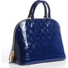LOUIS VUITTON Vernis Alma PM Grand Bleu ❤ liked on Polyvore featuring bags, handbags, tote bags, blue handbags, double zip tote, louis vuitton, monogrammed tote bags and monogram handbags