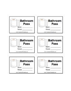 101 best classroom stuff images on pinterest in 2018 classroom a sheet of six illustrated bathroom passes with room for the students name and class period maxwellsz
