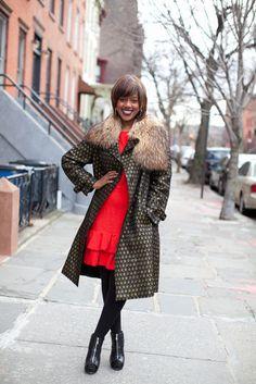 neutral coat/ popping dress