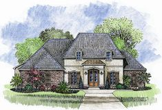 Madden Home Design - Acadian House Plans, French Country House Plans French Country Exterior, French Country House Plans, Country Style Homes, French Cottage, French Country Style, French Farmhouse, Country Farmhouse, Starter Home Plans, Madden Home Design