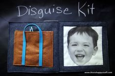 Disguise kit quiet book page includes a photo printed onto fabric. Bag is filled with disguise materials- mustache, sunglasses, crown, bowtie, hat and more