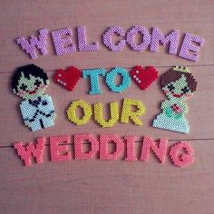 Wedding sign perler beads