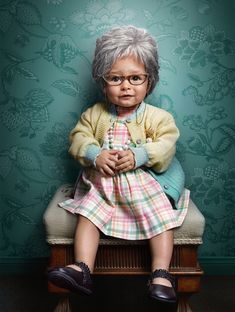 Photographer Zachary Scott has created an amazing series of kids photography ideas that depicts kids as seniors. Zachary Scott used makeup, prosthetics, and photo manipulation… for this classic kids photography, So Cute Baby, Cute Kids, Cute Babies, Baby Costumes, Costumes For Women, Halloween Costumes, Costume Zombie, Toddler Dress, Baby Dress