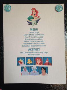 The Little Mermaid Menu - The Little Mermaid Disney Family Movie Night