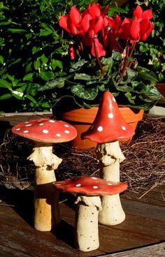 Dauerhaft schöne Pilze / champignons en terre cuite