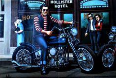 "David Mann Motorcycle Art Print ""Hollister Wild One"""