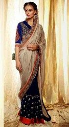 Navy Color Designer Sari With Awesome Embroidery Work On It
