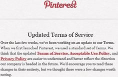 Pinterest Renovates Terms Of Service