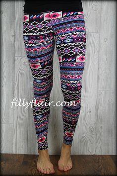 Pink Aztec Leggings: Filly Flair