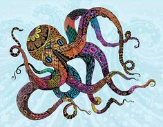 Electric Octopus Drawing  - Electric Octopus Fine Art Print