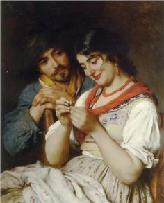 The Seamstress,   Eugene de Blaas  I love their facial expressions!!  This makes me think of a Cialis advert