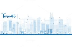 Outline Toronto skyline by Igor Sorokin on Creative Market