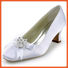 ElegantPark EP11108 Women Square Toe Wide Mid Heel Pearls Bows Pumps Satin Wedding Shoes Ivory US 11 - Pumps for women (*Amazon Partner-Link)