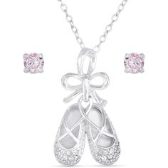 """Sterling Silver Ballet Slippers Pendant with 18"""" Chain and Pink CZ Sterling Silver Stud Earrings"""
