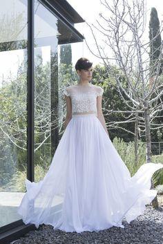 Mira Zwillinger crop top wedding dress