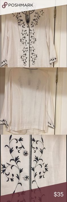 Embroidered white linen long sleeve shirt Nice detailing with elegant embroidery, subtle beading and covered bottoms.  Lovely neckline. Anne Carson Tops Blouses