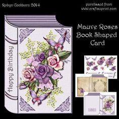 Mauve Roses Book Shaped Card - CUP547783_123 | Craftsuprint