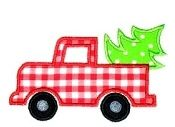 Truck with Tree Applique - Personalize your own Onesie/Tee!  This fun and cute Truck applique features a Cut Christmas Tree in the back -cute for girls & boys holiday outfits! Fabric colors are Red and Lime Green - for other colors just note at checkout!  Can be embroidered on any White, Red, or Black Infant Tee/Onesie or Toddler Tee! Short and Long Sleeves available.