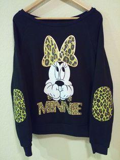 New Disney Minnie Mouse Sweater Sweatshirt Long Sleeve Shirt Womens Large Black