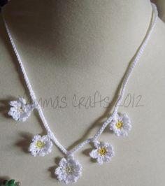 Daisy chain necklace #2  £12.50 + postage Daisy Chain, Chrochet, Crochet Necklace, How To Make, Cards, Jewelry, Crochet, Crocheting, Jewlery