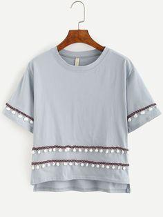 Grey shirt with tiny pom poms