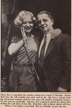 Clara Bow with her father Robert, 1931