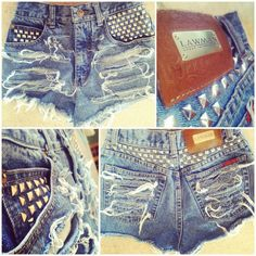 distressed and studded high wasted denim shorts