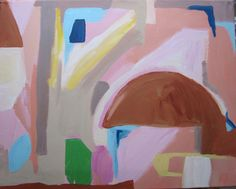 Pastel colors  Original 16 x 20 abstract painting Around town by Kerry Steele