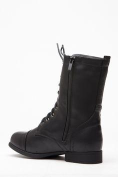 Black Faux Leather Lace Up Combat Boots