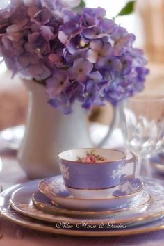 Purple Flowers & China Cup with plates