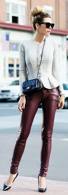 Burgundy leather pant + peplum top.