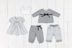 Jersey body in smock embroidery, grey flowered dress, children trousers