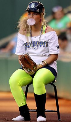 Best Bubble Blowers in Sports - Ball Girl at Seattle Mariners game. -still don't believe that this happened!