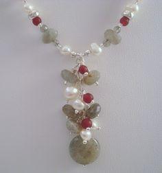 Labradorite, Pearls, and Silver Cascade