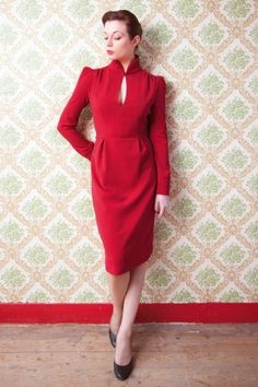 40s Ginger Red Pencil Dress with Keyhole
