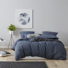 Home Republic - Vintage Washed Navy Check - Bedroom Quilt Covers & Coverlets…