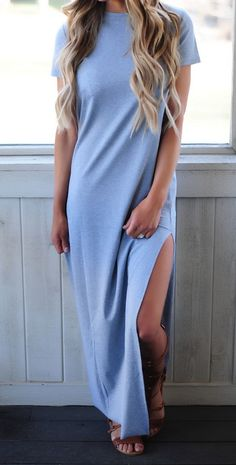 MUST HAVE maxi! Super cute grey ribbed knit maxi dress with short sleeves, high neckline, and high side slits. @shopdottie