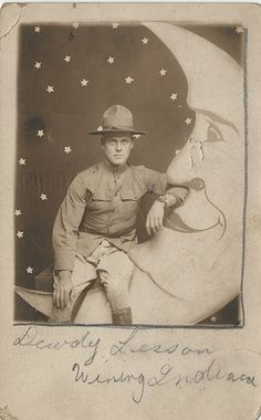 World War I Soldier on the Moon - Real Photo Postcard