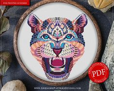Mandala Leopard Cross Stitch Pattern for Instant Download *P274 | Lovely Cross Stitch| Room Decor| Needlecraft Pattern| Easy Cross Stitch