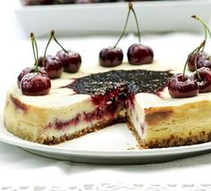 Swirls of cherries ensure this sublime cheesecake has a summer flavour, perfect for a sunset dinner party outside