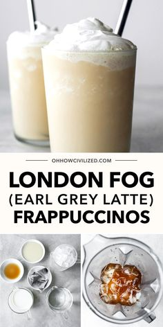 Did you know you could make a London Fog Frappuccino from Earl Grey Latte? Learn how to make it with just a few simple ingredients! Click to continue to the guide. Frappuccino Recipe, Frappe, Latte Recipe, Milk Tea Recipes, Iced Tea Recipes, Homemade Tea, Earl Grey Tea, Tea Sandwiches, Frozen Drinks