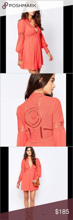 Free People Coral Festival Dress Free People Coral Festival Dress.  NWT.  Love this dress.  Coachella and the summer is just around the corner.  Match this with the Hunter Boots in my close and Free People Jacket for a cool day/night and you have got a styling outfit! Free People Dresses Mini