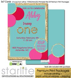 Birthday Invitation Girl Turquoise Pink Red Gold Glitter - available in Choice of either Personalized Printable Invitation or Premium Printed Packages which include premium thick card stocks, white envelopes and expedited shipping. 1st Birthday Invitations Girl, Little Girl Birthday, Print Packaging, Pink Turquoise, 1st Birthdays, Printable Invitations, White Envelopes, Red Gold, Gold Glitter