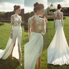 Ivory long sleeve prom dress, see through open back prom dress, high neck prom dress, cheap wedding dress, side split sexy long prom dress