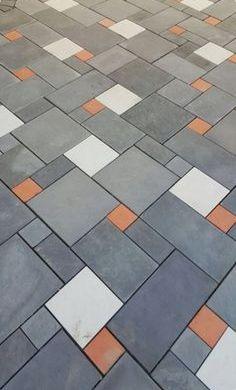 Porch Tile, Porch Flooring, Outdoor Flooring, Floor Design, Tile Design, Pavement Design, Paver Blocks, Paving Pattern, Paver Designs