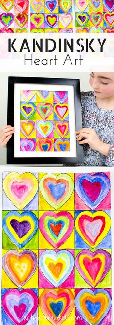 Arty Crafty Kids Art for Kids Kandinsky Inspired Heart Art Inspired by Kandinsky Art, this gorgeous Heart Art Painting is a fabulous art project for kids that can framed and shared as a Kid-Made Gift for any special occassion, uncluding Mother's Day Club D'art, Art Kandinsky, Classe D'art, Crafty Kids, Preschool Art, Art Classroom, Art Plastique, Art Activities, Elementary Art