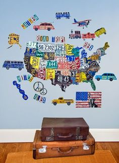 Awesome wall art for the kids play room~  I love all the vibrant colors~