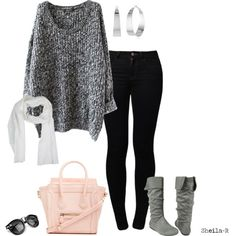 """Oversize sweater, skinny jeans, boots. """"Fall/Winter Outfit-Over 40 Fashion"""" by sheila-r on Polyvore"""