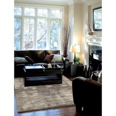 Carolina Weavers Eden Collection Raja Grey Area Rug (7'10 x 10'10) (7 ft 10 in x 10 ft 10 in), Brown (Plastic, Abstract)